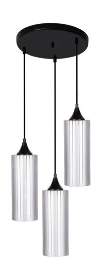 Lampa wisząca srebrna szklany klosz 3x60W E27 Concept Candellux 33-77967
