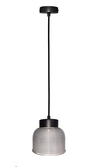 Lampa Wisząca Liverpool I LEDEA 50101285 E27 40W Ryflowane szkło Przeźroczyste Szkło, Czarny Kabel