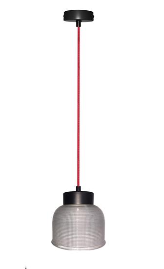 Lampa Wisząca Liverpool I LEDEA 50101287 E27 40W Ryflowane szkło Przeźroczyste Szkło, Czerwony Kabel