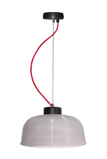 Lampa Wisząca Liverpool II LEDEA 50101288 E27 40W Ryflowane szkło Przeźroczyste Szkło, Czerwony Kabel