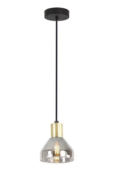 Lampa wisząca czarna/złota szklany klosz E14 40W Gregory Candellux 31-78391