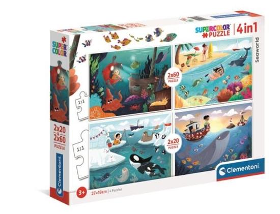 Clementoni Puzzle 2x20 + 2x60el Seaworld Wodny świat 21308 (21308 CLEMENTONI)