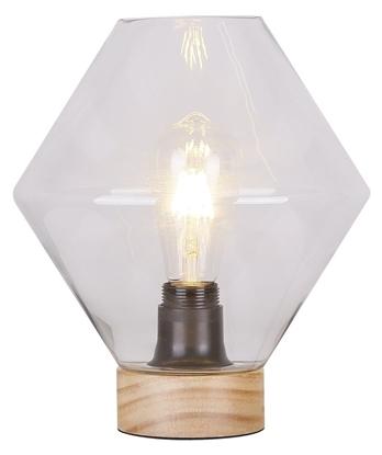 Lampka gabinetowa nocna bezbarwne szkło + drewno Karo Candellux 41-78186