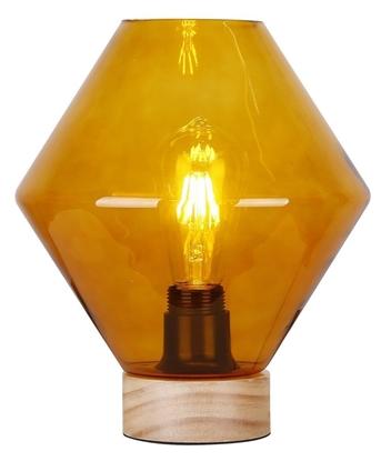 Lampka gabinetowa nocna pomarańczowe szkło + drewno Karo Candellux 41-78186