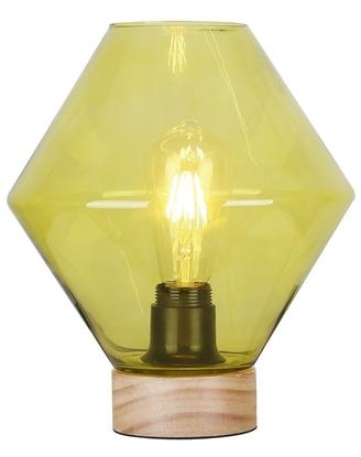 Lampka gabinetowa nocna 60W zielona szkło + drewno Karo Candellux 41-78209