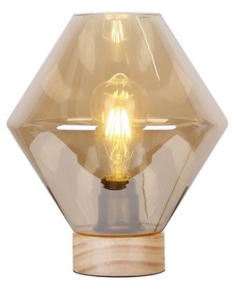Lampka gabinetowa nocna 60W dymiona szkło + drewno Karo Candellux 41-78216