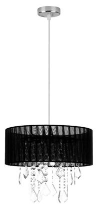 Lampa wisząca czarny abażur z organzy + kryształy Leda Candellux 31-84316