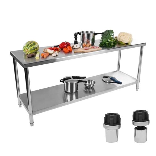 Stół do kuchni blat roboczy stal nierdzewna dolną półka 200x60cm