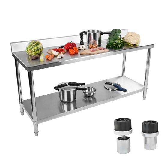 Stół do kuchni blat roboczy ze stali nierdzewnej z rantem i dolną półką 180x60cm