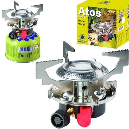 Kuchenka turystyczna na gaz na kartusze gazowe (gwint lub zawór) ATOS piezo zapalnik 1.8kW