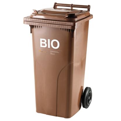 Pojemnik kubeł na BIO odpady i śmieci spożywcze ATESTY Europlast Austria - brązowy 120L
