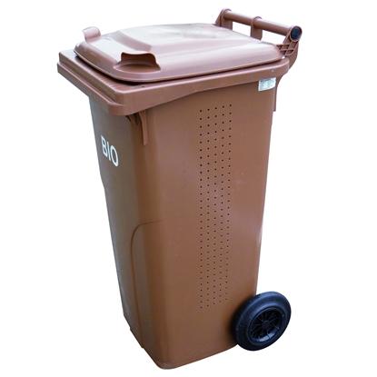 Pojemnik kubeł na BIO odpadki i śmieci spożywcze ATESTY Europlast Austria - brązowy 120L BIO