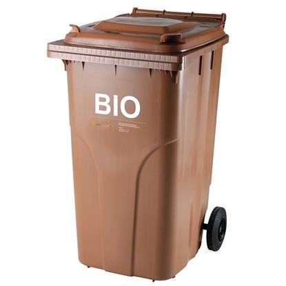 Pojemnik kubeł na BIO odpady i śmieci spożywcze ATESTY Europlast Austria - brązowy 240L