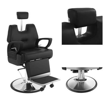 Fotel fryzjerski profesjonalny z podnóżkiem Physa FLORENZ czarny