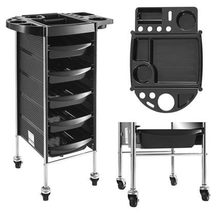 Wózek fryzjerski mobilny na kółkach z szufladami PHYSA 5 szuflad