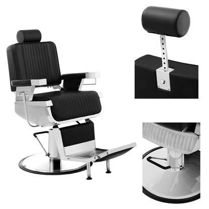 Profesjonalny fotel fryzjerski barberski z podnóżkiem obrotowy LUXURIA Physa czarny