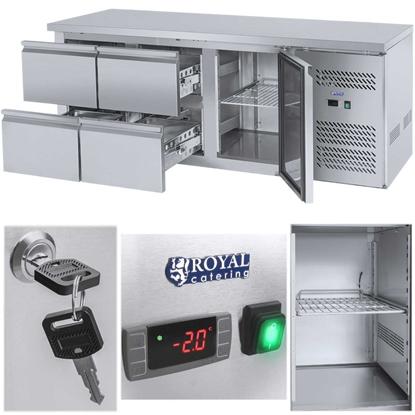 Stół chłodniczy ze stalowym blatem roboczym 4 szuflady od -2 do 10C 179cm