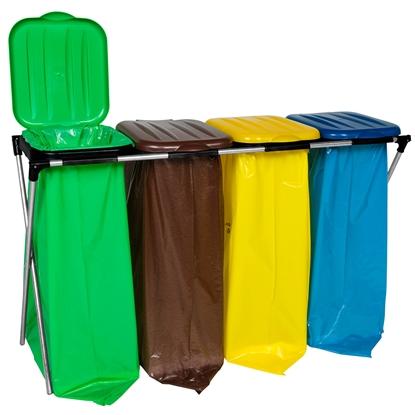 Stojak uchwyt na worki 120L na śmieci do segregacji - 4 rodzaje odpadków