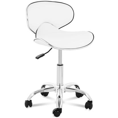 Krzesło kosmetyczne na kółkach z oparciem Munich białe