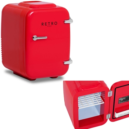 Mini lodówka samochodowa turystyczna retro 2w1 4L 12V / 230 V czerwona