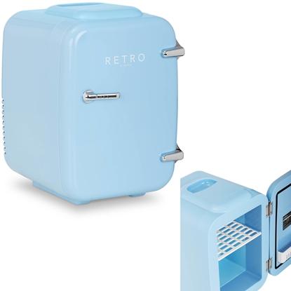 Mini lodówka samochodowa turystyczna retro 2w1 4L 12V / 24V / 230V niebieska