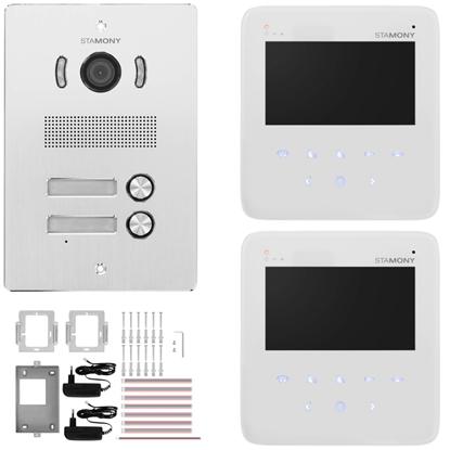 Wideodomofon domofon LCD 2 x 4.3'' do domu dwurodzinnego 50 m
