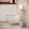 Stojak uchwyt na papier toaletowy ze szczotką do WC wolnostojący podłogowy STAL