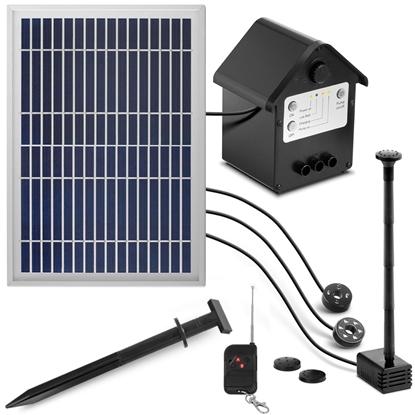 Fontanna do oczka wodnego stawu solarna z pilotem światłami LED baterią 250 l/h 0.8 m 2 W