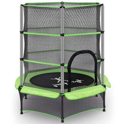 Trampolina dla dzieci z siatką zabezpieczającą do 50 kg śr. 140 cm zielona
