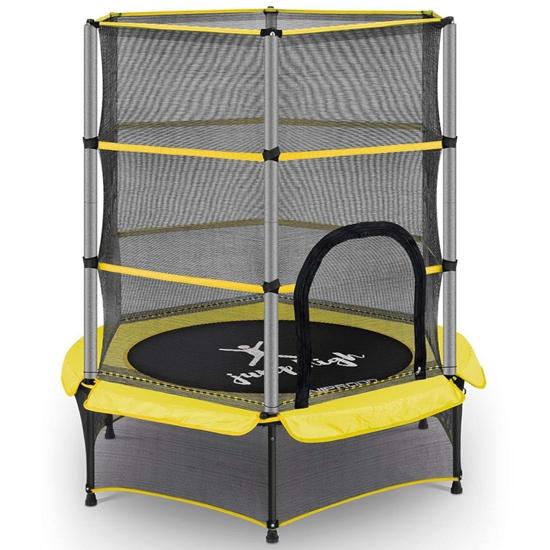 Trampolina dla dzieci z siatką zabezpieczającą do 50 kg śr. 140 cm żółta