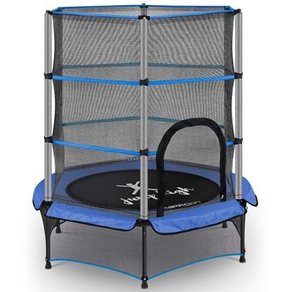 Trampolina dla dzieci z siatką zabezpieczającą do 50 kg śr. 140 cm niebieska