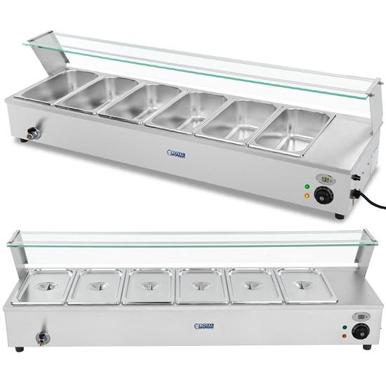 Bemar podgrzewacz gastronomiczny z kranem i osłoną 1800 W 6x GN 1/3 gł. 100 mm 22.8 l