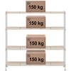 Regał metalowy magazynowy 4 półki ażurowe z nakładkami do 600 kg 180x45x180 cm