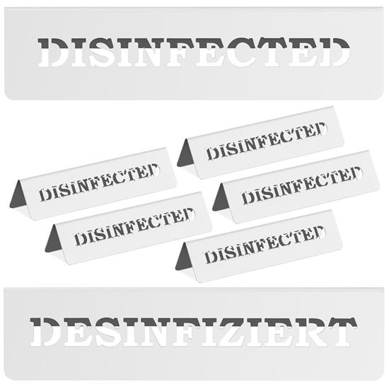 Tabliczka informacyjna na stół ze stali nierdzewnej DISINFECTED / DESINFIZIERT 5 szt.