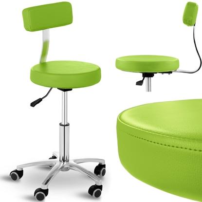 Krzesło taboret hoker kosmetyczny z oparciem na kółkach do 150 kg TERNI zielony