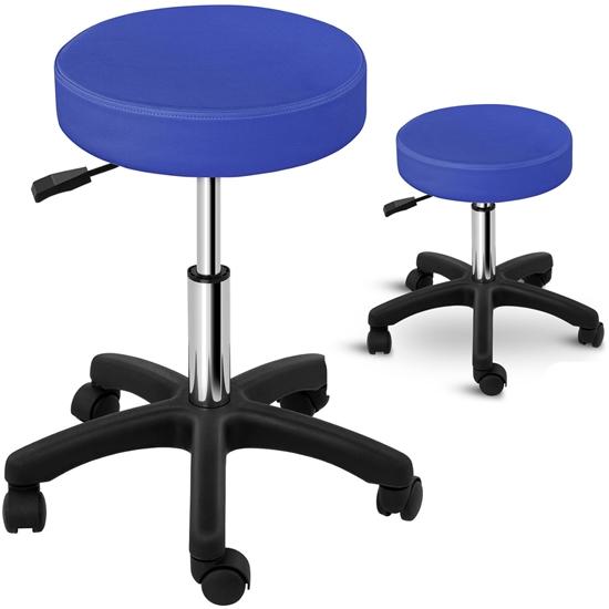 Taboret stołek hoker kosmetyczny obrotowy na kółkach Physa AVERSA niebieski