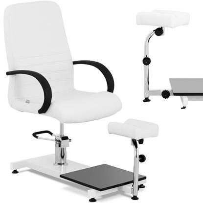 Fotel kosmetyczny z podnóżkiem do pedicure podologiczny do 150 kg LIMA biały