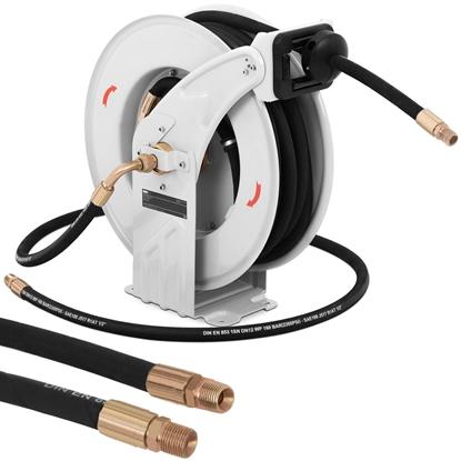 Wąż przewód pneumatyczny ciśnieniowy gumowy zwijany na bębnie 160 bar 15 m + 2 m