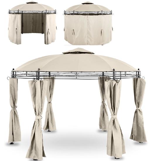 Pawilon ogrodowy namiot altana składana okrągła ze ścianami śr. 3.5 m kremowy