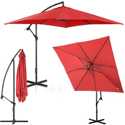 Parasol ogrodowy na wysięgniku kwadratowy 250 x 250 cm czerwony