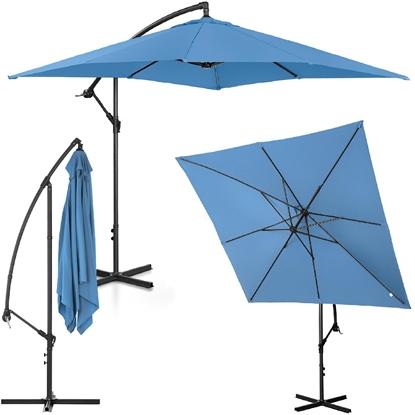 Parasol ogrodowy na wysięgniku kwadratowy 250 x 250 cm niebieski