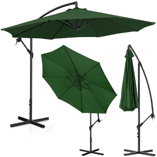 Parasol ogrodowy na wysięgniku okrągły śr. 300 cm zielony