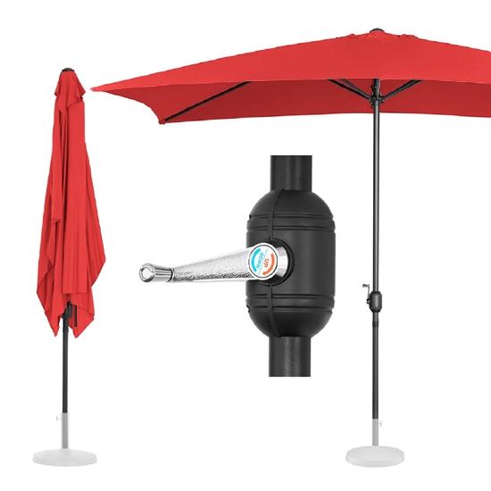 Parasol ogrodowy prostokątny z korbką 200 x 300 cm czerwony