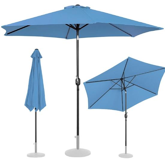 Parasol ogrodowy okrągły uchylny z korbką śr. 300 cm niebieski