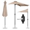 Pół parasol przyścienny na balkon taras półokrągły 270 x 135 cm kremowy