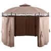 Pawilon ogrodowy namiot altana składana okrągła ze ścianami śr. 3.5 m beżowa