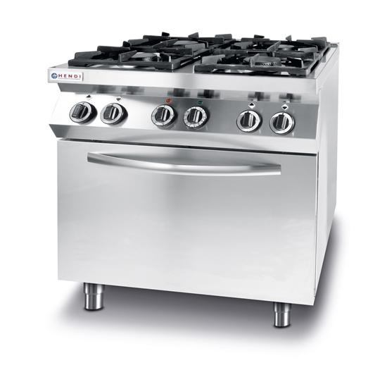 Kuchnia gazowa 4 palniki z elektrycznym piekarnikiem konwekcyjnym GN1/1 Kitchen Line - Hendi 225882