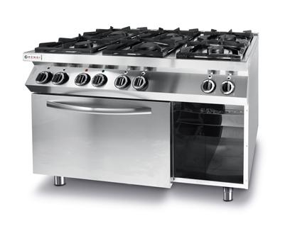 Kuchnia gazowa 6 palników z piekarnikiem elektrycznym GN1/1 Kitchen Line - Hendi 225899