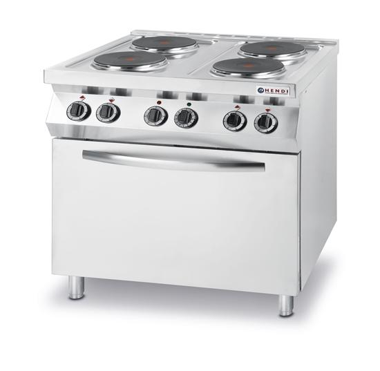 Kuchnia elektryczna 4 płyty z piekarnikiem konwekcyjnym GN1/1 Kitchen Line - Hendi 225936