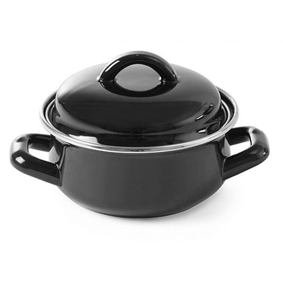 Garnek do zup i sosów z pokrywką czarny 0,6 l - Hendi 625705